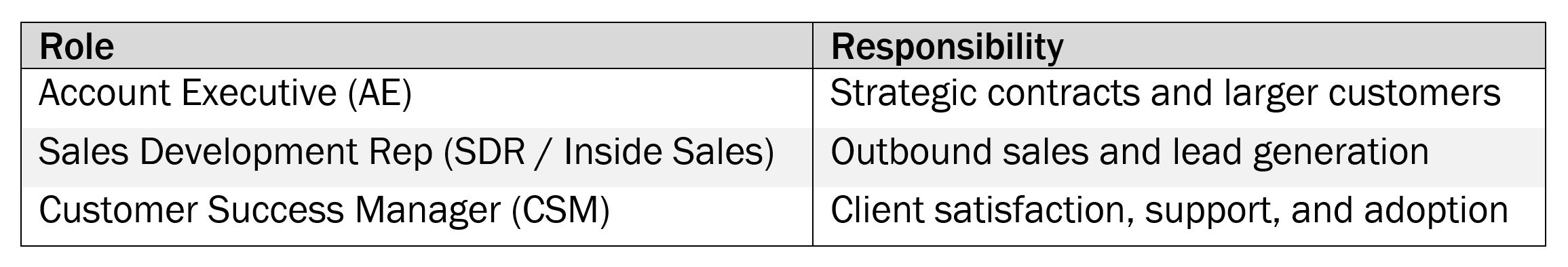 SaaS Roles and Responsibilities Table